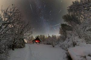 Geminidy v roce 2018 nad Ústupkami. Foto: Petr Horálek.