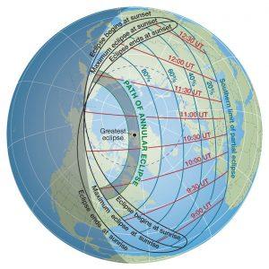 Viditelnost zatmění Slunce 10. června 2021 ve světě. Zdroj: Sky & Telescope.