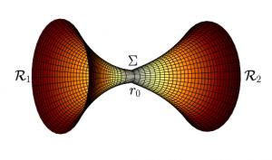 Propojené prostoročasy vytvářející červí díru. Autor: M. Wielgus a kol.