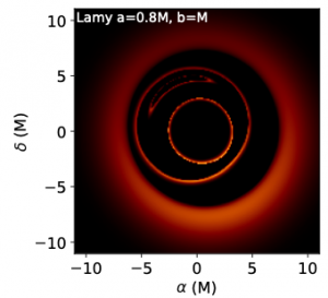 Jak by mohl vypadat výsledný stín červí díry spolu s detekovanými fotonovými prstenci. Pozorování takovéhoto obrazce by potvrdilo existenci červích děr. Zdroj: Frederic Vincent a kol.