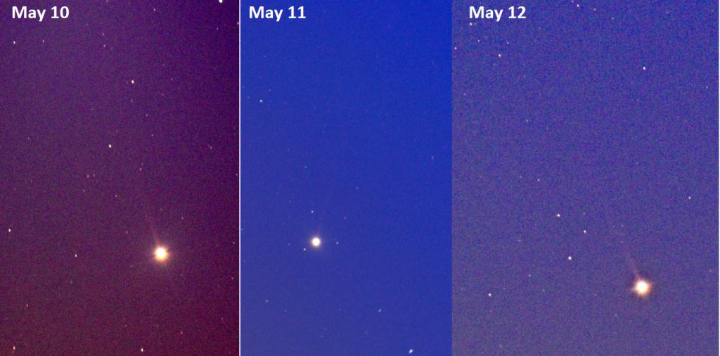 Merkurův ohon zachycený v průběhu posledních dnů i bez speciálního filtru. Foto: Paul Robinson.