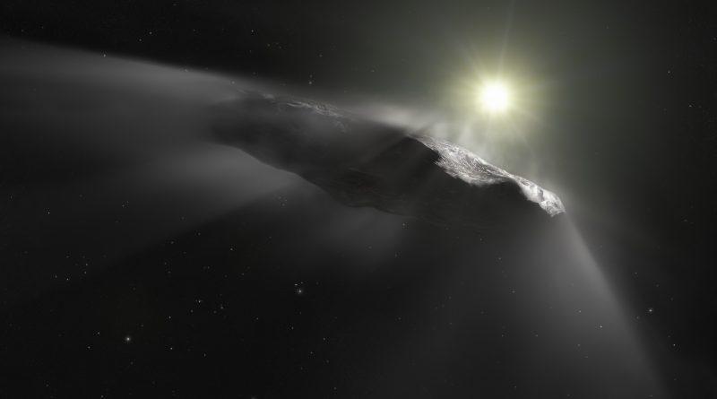 Vizualizace asteroidu `Oumuamua. Credit: ESA/Hubble, NASA, ESO, M. Kornmesser